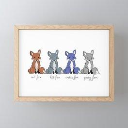 Cute Kawaii North American Fox Types Arctic Kit Red Gray Framed Mini Art Print