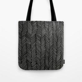 Herringbone Cream on Black Tote Bag