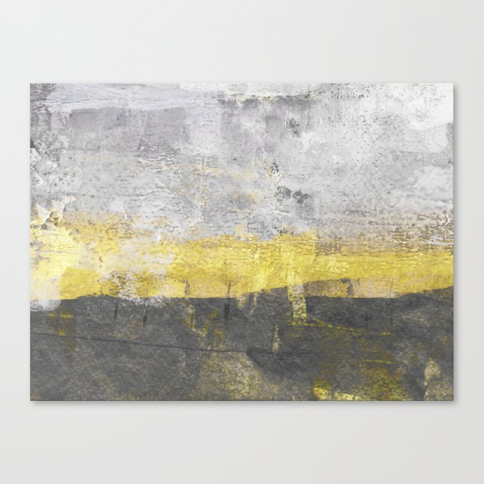 Yellow and Grey Abstract Painting - Horizontal Leinwanddruck