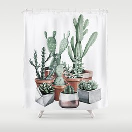 Potted Cacti + Succulents Rose Gold Shower Curtain