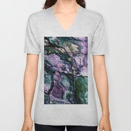 Textured Minerals Teal Green Purple Unisex V-Neck