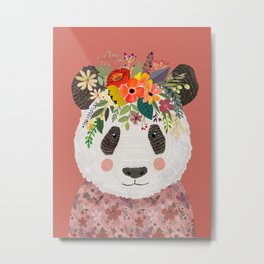 Cut Panda Bear with flower crown. Cute decor for kids Metal Print