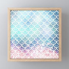 Mermaid Scales Turquoise Pink Sunset Framed Mini Art Print