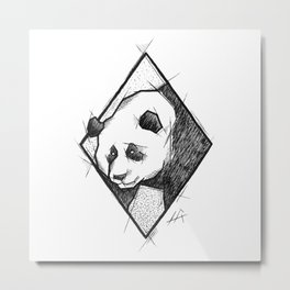Panda Handmade Drawing, Made in pencil, charcoal and ink, Tattoo Sketch, Tattoo Flash, Sketch Metal Print