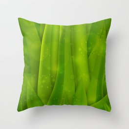 background in pastel colors with green grass and dew Throw Pillow