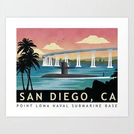 San Diego, CA - Retro Submarine Travel Poster Art Print