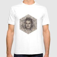 Audrey Hepburn dot work portrait Mens Fitted Tee White MEDIUM
