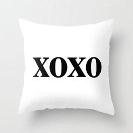 Black XOXO Throw Pillow