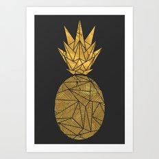 Bullion Rays Pineapple Art Print