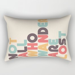 Retro Not All Who Wander Are Lost Typography Rectangular Pillow