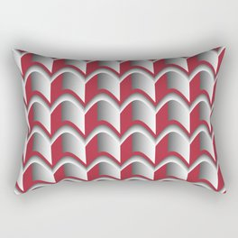 Abstract Red&Grey Pattern Rectangular Pillow