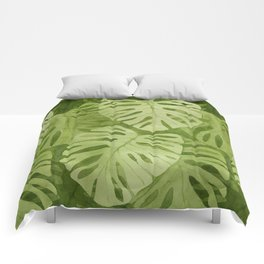 Watercolor Monstera Leaves Comforters