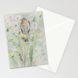 Flycatcher Wildlife bird watercolor painting Stationery Cards