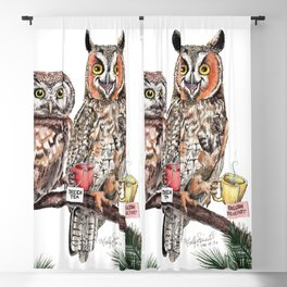 Tea owls , funny owl tea time painting by Holly Simental Blackout Curtain