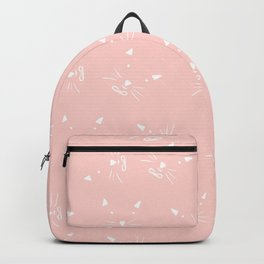 Cute girly hand drawn abstract cat face on pastel pink Backpack
