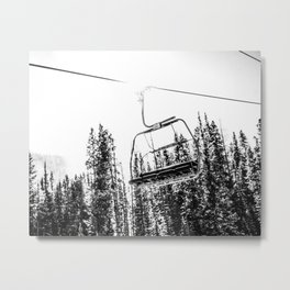 Empty Skilift // Black and White Snowboarding Dreaming of Winter Metal Print