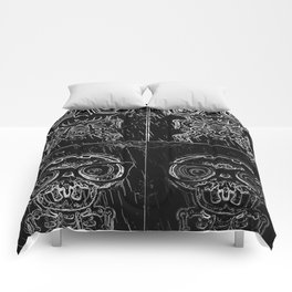 funny skull and bone with glasses in black and white Comforters