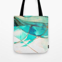 Teal on Silk Tote Bag