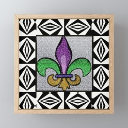 Fleur De Lis with Black and White Pattern Framed Mini Art Print