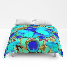 Royal Blue Eyes & Butterfly Dreams Abstract  Pattern Art Comforters