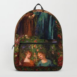 Rose Garden Tapestry Gather Ye Rosebuds While Ye May by Thomas Edwin Mostyn Backpack