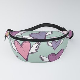Wedding romantic pattern - hearts with wings sketch retro style Fanny Pack