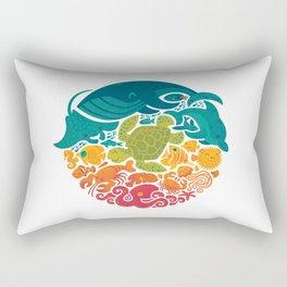 Aquatic Rainbow (white) Rectangular Pillow