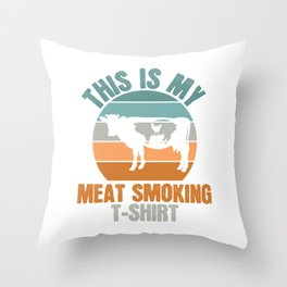 This Is My Meat Smoking Charcoal Grill Smoke Sausage Grilling Smoking BBQ Barbecue T-shirt Design Throw Pillow