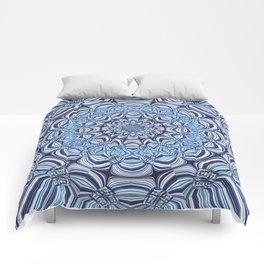 Blue mandala Comforters