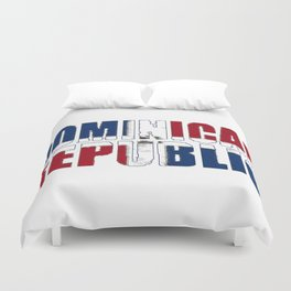 Dominican Republic Font with Dominican Flag Duvet Cover