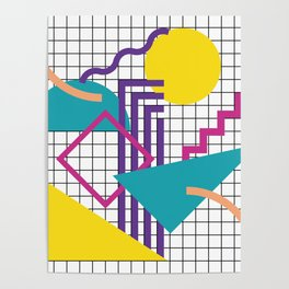 Memphis Pattern - 80s Retro White Poster