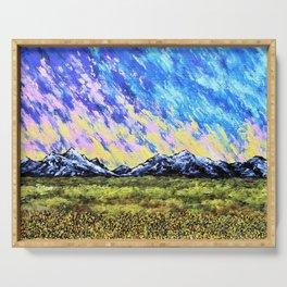 Aurora Borealis Over the Colorado Rocky Mountains Serving Tray