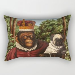 Monkey Queen with Pug Baby Rectangular Pillow