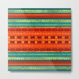Ethnic Tribal Pattern Gold Orange and Teal Metal Print