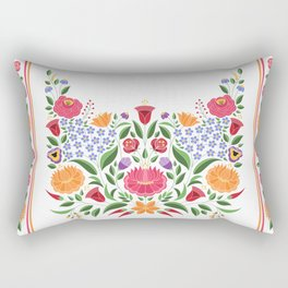 Hungarian folk pattern – Kalocsa embroidery flowers Rectangular Pillow