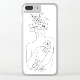 Minimal Line Art Woman with Flowers IV Clear iPhone Case