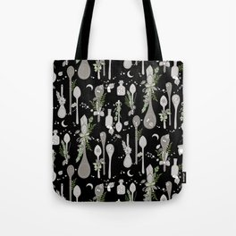 Kitchen Witch Spoons (Black) Tote Bag