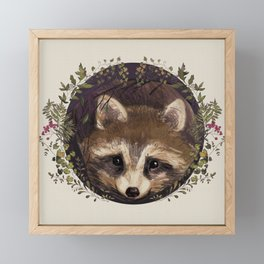 Raccoon in Forest Wreath Framed Mini Art Print