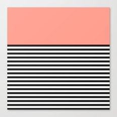 STRIPE COLORBLOCK {CORAL} Canvas Print