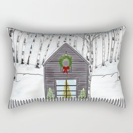 Christmas Cabin In The Snowy Woods Rectangular Pillow