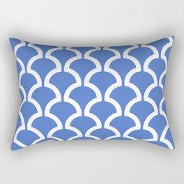 Classic Fan or Scallop Pattern 475 Blue Rectangular Pillow