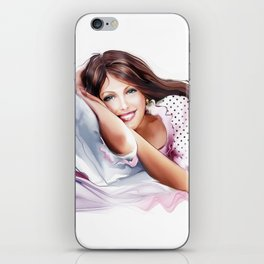 the girl on the pillow iPhone Skin