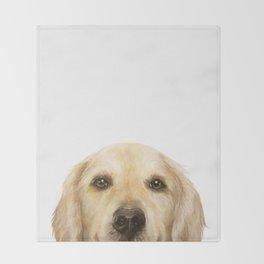 Golden retriever Dog illustration original painting print Throw Blanket