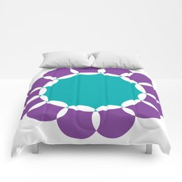 Sunflower Circles Purple & Teal Comforters