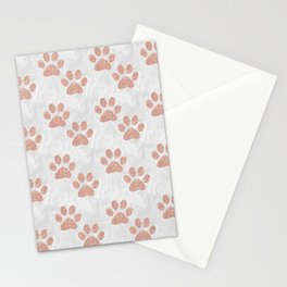Rose Gold Paw Print Pattern Stationery Cards