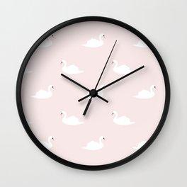 Swan pattern on pink 033 Wall Clock