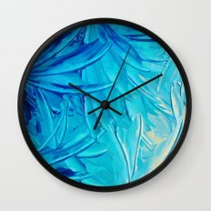 WATER FLOWERS - Beautiful Water Ocean Theme Shades Blue Floral Modern Design Abstract Painting Wall Clock