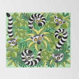 Lemurs on Madagascar Rainforest Throw Blanket