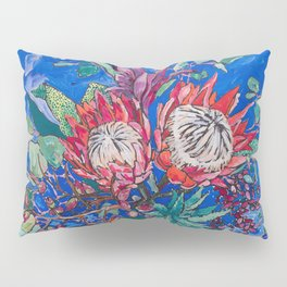 Painterly Bouquet of Proteas in Greek Horse Urn on Blue Pillow Sham