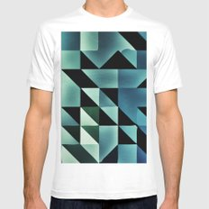 :: geometric maze VII :: White MEDIUM Mens Fitted Tee